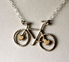 bicycle heart necklace