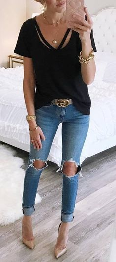 how to style a black tee : ripped jeans + nude heels