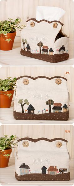 so special and unique tissue box cover Tissue Box Holder, Tissue Box Covers, Tissue Boxes, Quilting Projects, Quilting Designs, Sewing Projects, Japanese Patchwork, Japanese Fabric, Felt Crafts