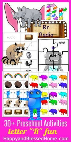 "30+ FREE Preschool Activities with 50+ FREE Printables for Learning to Read Letter ""R"" from www.HappyandBlessedHome.com #FREEPrintables #PreschoolActivities"