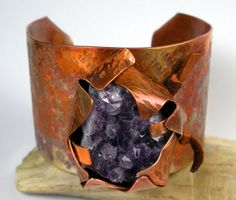 Amethyst Cuff Bracelet, A Rustic Hammered and Folded Copper Cuff with Amethyst Geode, Leather, and Heat Patina -Blooming Bud