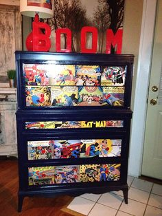Custom made Comic Book Dresser by Jogunwarrior, via Flickr