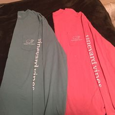 Vineyard Vines long sleeve BUNDLE Both are excellent condition, NEVER WORN, and 100 % authentic super soft long sleeve Vineyard Vines t-shirts. Nothing is written on the back of the shirts. Vineyard vines written down left sleeve. The pink/salmon colored one is a size small. The forest green colored one is a medium. Both are men's sizes. No stains, no imperfections, no rips. Buying this gets you BOTH shirts. If you would like just ONE of the shirts, comment below. Vineyard Vines Tops Tees…