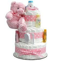 SHOP.COM - Pink Teddy 3-Tier Diaper Cake by Gift Cakes Galore
