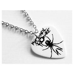 Items similar to Guitar Pick Necklace: My Chemical Romance Necklace -... ❤ liked on Polyvore featuring jewelry, necklaces, my chemical romance, guitar pick necklace and guitar pick jewelry