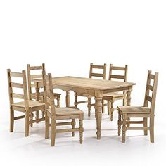 Manhattan Comfort Jay Collection Traditional Pine Wood 7 Piece Dining Set With Trim Design, 6 Chairs and 1 Table, Natural Wood
