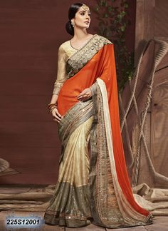 Adorning Beige and Orange Coloured Georgette Embroidered Saree