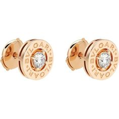 BVLGARI-BVLGARI 18ct pink-gold stud earrings with diamonds ($4,800) ❤ liked on Polyvore featuring jewelry, earrings, pink gold earrings, rose gold earrings, stud earrings, diamond stud earrings and bulgari earrings
