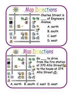 Here's a set of 34 question cards on cardinal directions and map reading. These are available in 3 different files from ProTeacher. You must login to download. (Membership is free.)