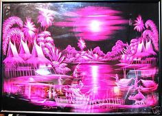 Evening Fishing in Malaysia under Pink Moonlight - Unknown artist. Artist Signatures, Art World, Moonlight, Original Paintings, Fishing, Neon Signs, Pink, Pink Hair, Peaches