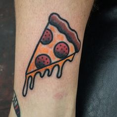 Got to tattoo this awesome pizza today on @joshuawoodard super cool dudes!