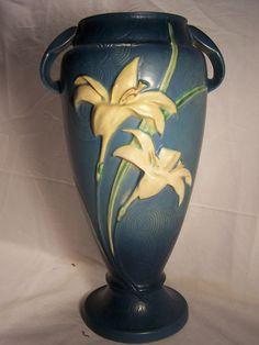 "Roseville Pottery Co. 15""  Zephyr Lilly Vase- Blue"