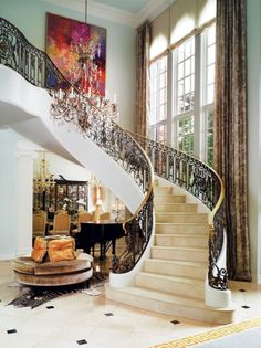 Foyer and staircase, interior design ideas and home decor by ZsaZsa Bellagio: Glamorous Home Foyer Staircase, Entry Foyer, Winding Staircase, Curved Staircase, Home Design, Interior Design, Beautiful Interiors, Beautiful Homes, Simply Beautiful