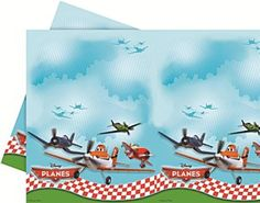 From the world of Pixar's Cars comes Disney's Planes an actin packed 3D animated comedy adventure featuring Dusty the crop duster plane with his adversary Ripslinge who is a custom built carbon fibre plane. Our Disney Planes Party Tablecover features a plastic Tablecover and measures 120cm by 180cm. The Tablecover features colourful pictures of some of your favourite Plane's characters such as Dusty, El Chupacabra, Skipper and Ripslinge against a blue sky background.