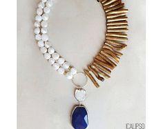Collar de Boho, perlas collar, joyería de playa, collar lariat, y collar, joyería azul para las mujeres, regalo de joyería para mujer, regalo para ella