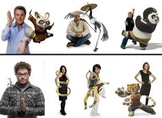 In Kung Fu Panda we have the voices of: Dustin Hoffman as Shifu, David Cross as…