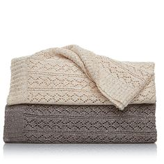 Highgate Manor Sophisticated Sequin Knit Throw - Ivory/Off White
