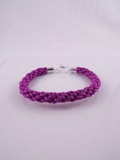 Flora Light Purple cord kumihimo bracelet w/ silver plate