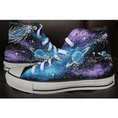 Converse All Star Galaxy Sneaker Galaxy Cute Converse, Galaxy Converse, Converse All Star, Diy Galaxy Shoes, Sparkly Converse, Custom Painted Shoes, Hand Painted Shoes, Custom Shoes, Custom Converse Shoes
