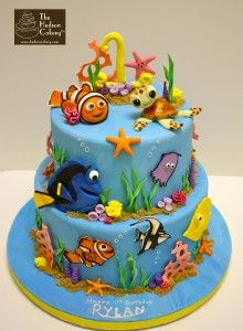 Finding Nemo Birthday cake (sea, fish, coral, ocean)