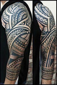 Like this real nice Half Sleeve Tribal Tattoos, Tribal Tattoos With Meaning, Geometric Sleeve Tattoo, Samoan Tribal Tattoos, Full Arm Tattoos, Tribal Tattoos For Men, Half Sleeve Tattoos Designs, Arm Tattoos For Guys, Body Art Tattoos