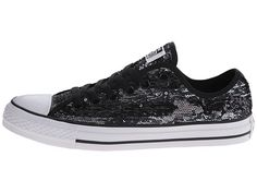 Converse Chuck Taylor® All Star® Sequin Flag Ox Black/Silver/White - Zappos.com Free Shipping BOTH Ways