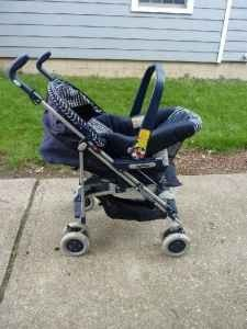 Peg Perego Stroller, Infant Car Seat, and Extra Base - $100 (Oakwood)
