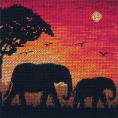 Elephant Silhouette (African Elephants) - Cross Stitch Kit