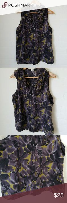 J. Crew Purple Silk Floral Ruffle Tank J. Crew factory silk Kelsey ruffle tank with a  muted purple floral pattern. Size 12. J. Crew Tops Tank Tops
