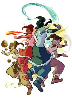 Korra and the Four Elements