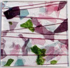 Bullseye 90 COE Deep Pink, Plum, Lt. Green, Aqua Fractures Pink Streamers Glass #Bullseye