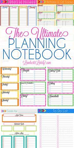 This Ultimate Planning Notebook collection is awesome!  It's a free set of printables that includes to do lists, weekly/monthly/daily planner sheets, a grocery planner, goal setting sheets, and more.  The best part...it's free! http://www.lambertslately.com/search/label/Ultimate%20Planning%20Notebook