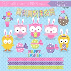 Our Easter Cuties set includes 22 unique clipart graphics including 2 owls with bunny ears, 1 owl with bunny ears holding an egg, a chick with bunny ears holding an egg, a chick with bunny ears, 3 easter eggs, an easter basket, a flower pot, a bunting, 3 trims, 8 Easter typography graphics.  Matching digital papers are available separately in my shop here: https://www.etsy.com/ca/listing/261160510/easter-cuties-papers  FILE FORMATS: ❣ High Resolution PNG format (transparent background)…