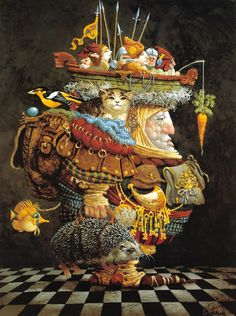"""""""The Burden of the Responsible Man"""" is painted by James C. Christensen.  As an artist, or """"author"""", he creates his work with intention; the work is displayed the way it is; and the viewer interprets the work based on his or her own thoughts, feelings, and cultural background.  In this example, who is the author really -- the painter or the viewer?"""