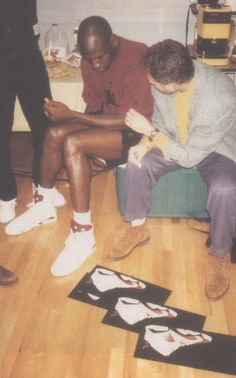 Jordan discussing... Jordans, with Tinker Hatfield, 1991