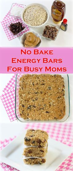 Super Easy, No-Bake Energy Bars perfect for busy moms! These make great snacks for any time of day. Recipe here:  http://www.ehow.com/ehow-mom/blog/eat-these-now-the-easiest-no-bake-energy-bars-for-busy-moms/
