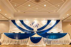#Backjob #Headtable #Caketable #Namedesign #Royalblue #White #Wedding