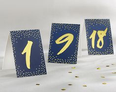 Navy and Gold Foil Tented Set of 18 Table Numbers (1-18) - Under The Stars #tablenumber #wedding