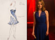 The sketch for Emma Stone's (Mia) navy dress from La La Land's costume designer Mary Zophres. The navy halter dress they ended up using is from Jason Wu.