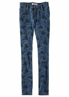 skinny #blue #bleached #denim with #flower print