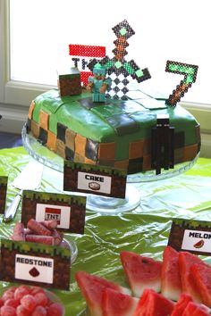 My son's minecraft partys, old boy :) Minecraft Cake, Seven Years Old, Son Love, Hammocks, Candy Buffet, Creepers, Gift Wrapping, Decorations, Mugs