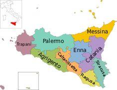 Mappa della regione Sicilia con le sue province