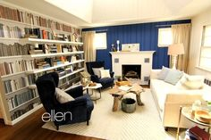 bookshelf mural by Murals Your Way as seen on The Ellen Show.  Room makeover by Cousins on Call aka Kitchen Cousins