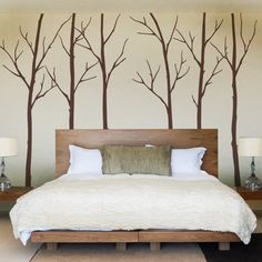 Wall Decal Winter Trees Art Wall Sticker by SimpleShapes on Etsy