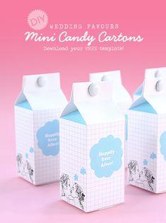DIY Wedding Favors: Mini Candy Cartons. Free Template!