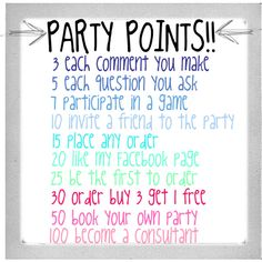 Party Point ideas for Jamberry Party