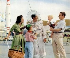 Vintage Disneyland Picture of your typical nuclear family with the Tomorrowland Space Man