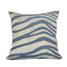 Kravet Alexa Hampton Tuckahoe Ripple Blue Beige Large Animal Stripe Pillow Cushion Cover
