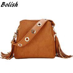 CLELO New Vintage Fashion Women Rivet Tassels Bucket Bag Female Small Scrub  Pu Shoulder Bags Ladies Handbags Bolsa Feminina af88c32ca06ee