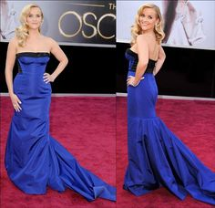 Reese Witherspoon wore an electric blue Louis Vitton strapless gown at the 2013 Oscars. Not many women can pull off this bold color, but she does magnificently.